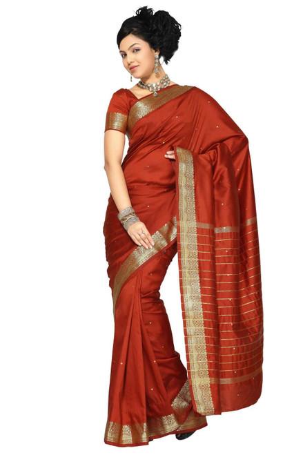 Rust Art Silk Saree Sari fabric India Golden Border