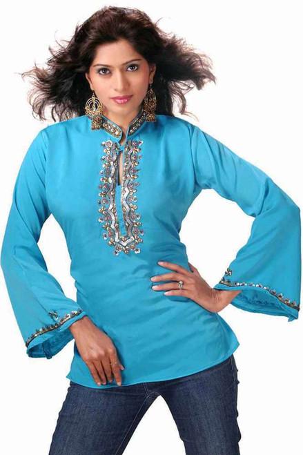 Blue long sleeves Kurti/Tunic with designer bead work