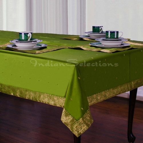 Forest Green - Handmade Sari Tablecloth (India)
