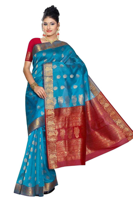 Blue and Red South Indian fancy Art Silk Sari Saree bellydance wrap