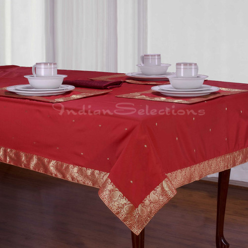 Fire Brick - Handmade Sari Tablecloth (India)