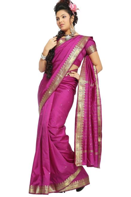 Violet Red Art Silk Saree Sari fabric India Golden Border