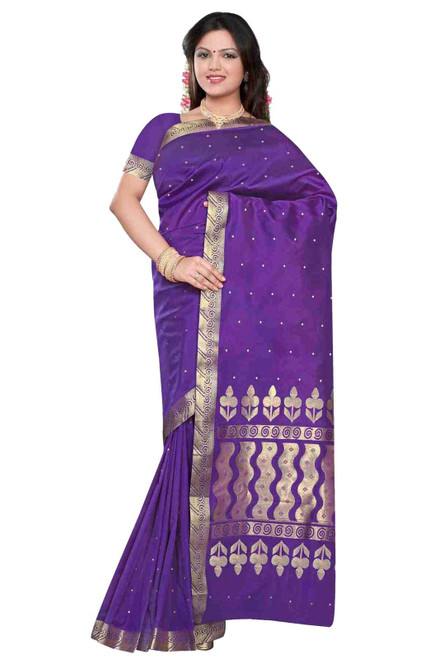 Purple -  Benares Art Silk Sari / Saree/Bellydance Fabric (India)