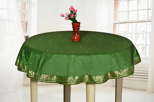 Forest Green  - Handmade Sari Tablecloth (India) - Round