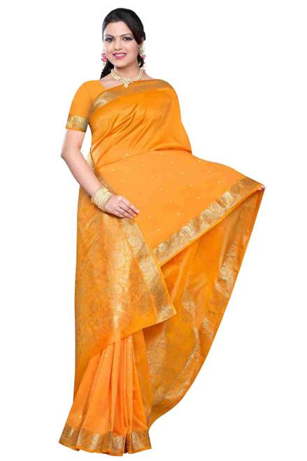 Pumpkin -  Benares Art Silk Sari / Saree/Bellydance Fabric (India)