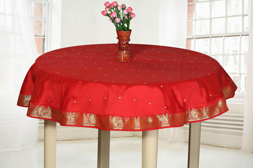 Fire Brick  - Handmade Sari Tablecloth (India) - Round