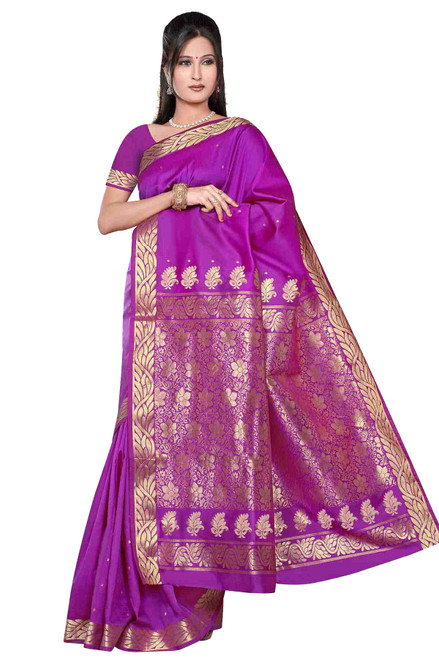 Violet red -  Benares Art Silk Sari / Saree/Bellydance Fabric (India)