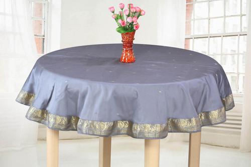 Dark Gray - Handmade Sari Tablecloth (India) - Round