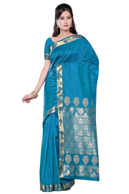 Turquoise -  Benares Art Silk Sari / Saree/Bellydance Fabric (India)