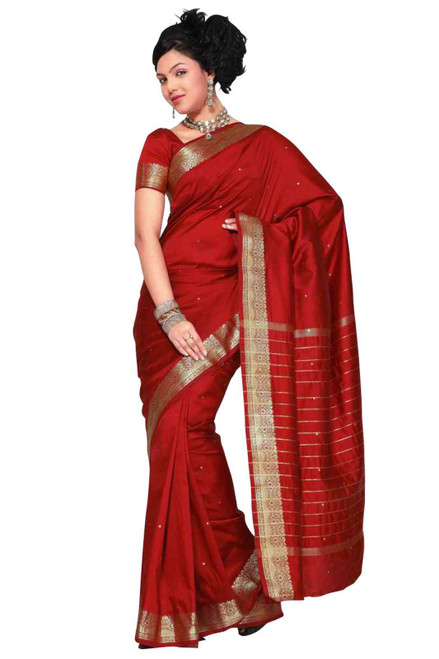 Maroon Art Silk Saree Sari fabric India Golden Border