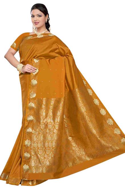 Mustard -  Benares Art Silk Sari / Saree/Bellydance Fabric (India)