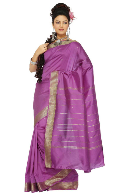 Lavender Art Silk Saree Sari fabric India Golden Border