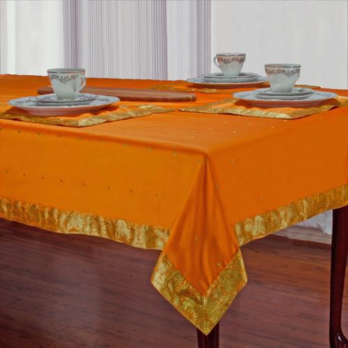 Pumpkin - Handmade Sari Tablecloth (India)