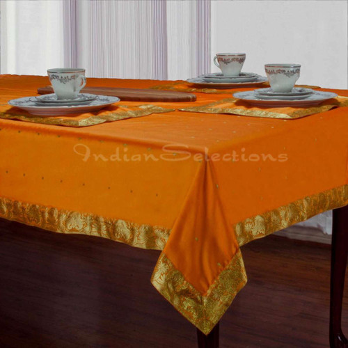 Pumpkin - Handmade Sari Tablecloth (India)