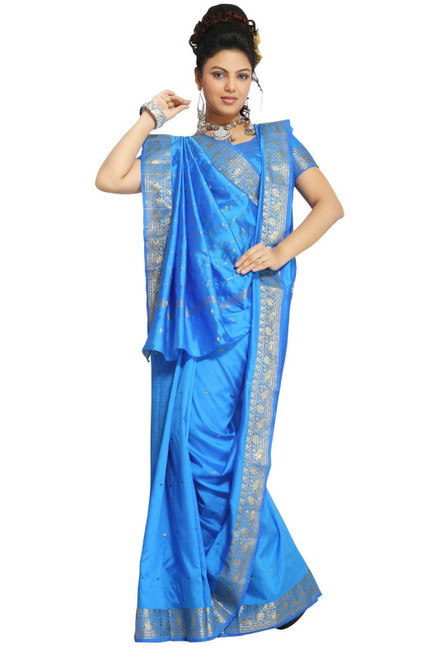 Island Blue Art Silk Saree Sari fabric India Golden Border