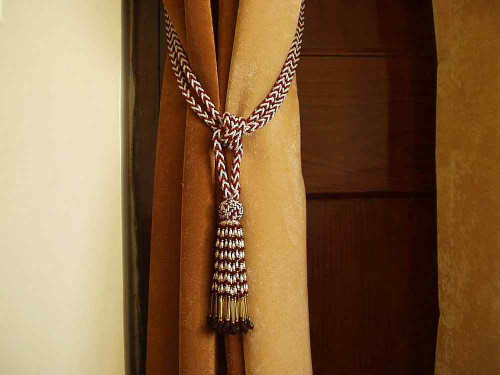 Pair - Red White Beaded Decorative handmade Tiebacks / Tassel / Curtain Holdback