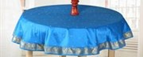 Blue Gold - Handmade Sari Tablecloth (India) - Round