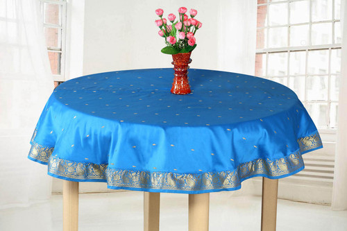 Blue Gold - Handmade Sari Tablecloth (India) - Round
