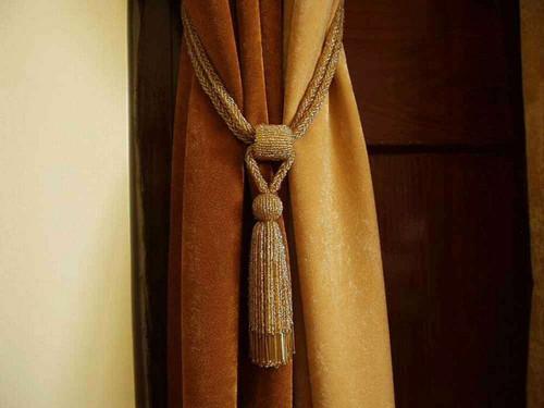 Pair - Golden Beaded Decorative handmade Tiebacks / Tassel / Curtain Holdback