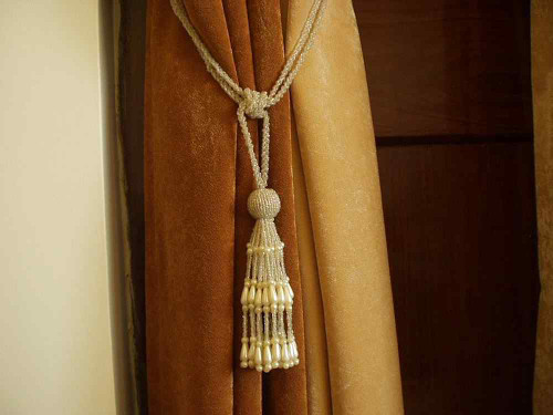 Pair - Off White Beaded Decorative handmade Tiebacks / Tassel / Curtain Holdback