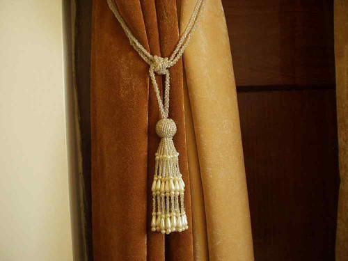 Pair - Off White Beaded Decorative handmade Tiebacks / Tassel / Curtain Holdback