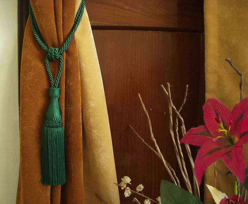 Green handmade Curtain Tieback / Tiebacks / Tassel - Pair