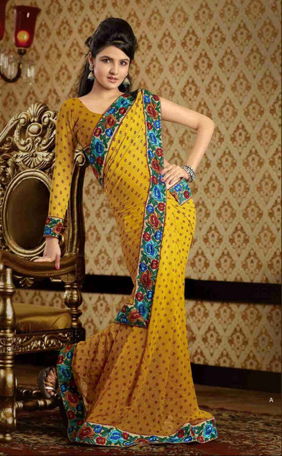Chaitali Yellow Faux Crepe Luxury Party Wear Sari saree