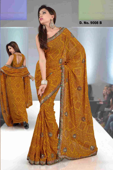 Akshara Fancy festival wear designer Georgette Sari  with sequin design