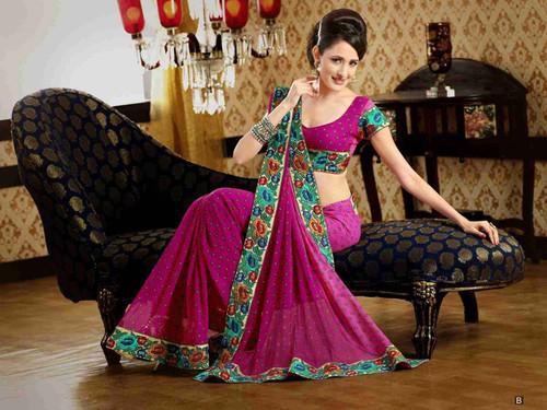 Chakori Deep Pink Faux Crepe Luxury Party Wear Sari saree
