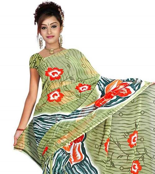 Bijli Georgette Printed Casual Saree Sari Bellydance fabric