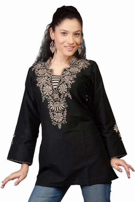 Black long sleeves Kurti/Tunic with neckline embroidery
