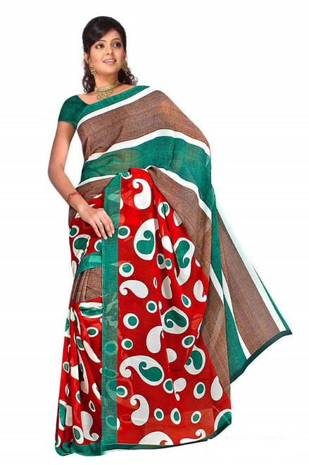Bhagwati Georgette Printed Casual Saree Sari Bellydance fabric