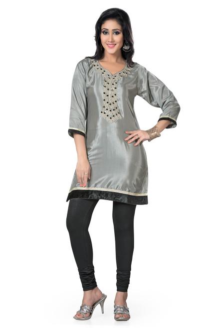 Grey 3/4 Sleeves designer  Kurti / Tunic (India) with beaded neckline