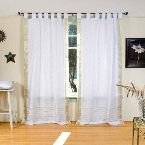 White with Gold  Tab Top  Sheer Sari Curtain / Drape / Panel  - Pair