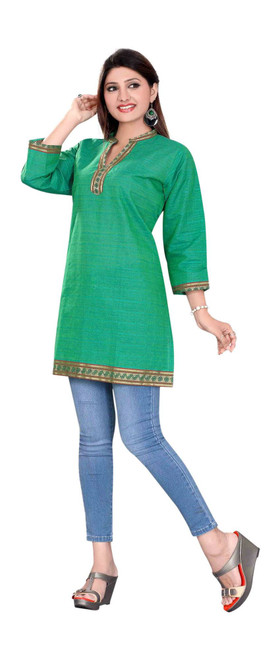 Sea Green 3/4 sleeve Indian Cotton Kurti/Tunic with Golden neckline