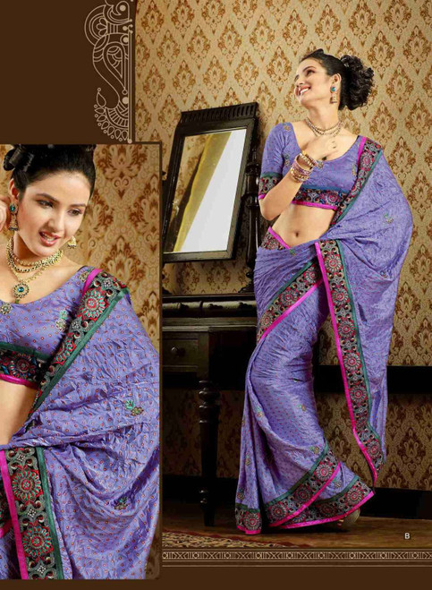 Damyanti Mauve Faux Crepe Luxury Party Wear Sari saree