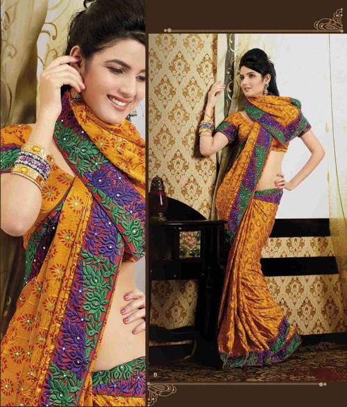 Dalaja Orange Faux Crepe Luxury Party Wear Sari saree