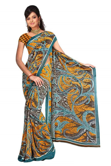 Basabi Georgette Printed Casual Saree Sari Bellydance fabric