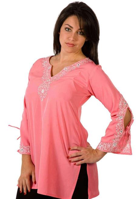 Pink Crepe Kurti / Tunic with white neckline emroidery