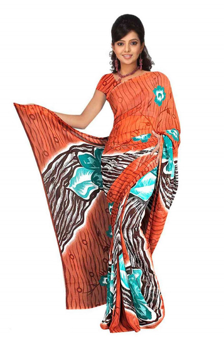 Bindu Georgette Printed Casual Saree Sari Bellydance fabric