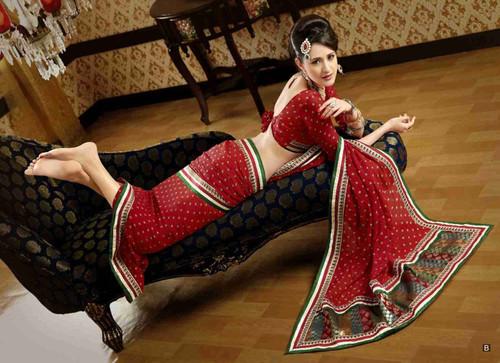 Chitrani Red Faux Crepe Luxury Party Wear Sari saree