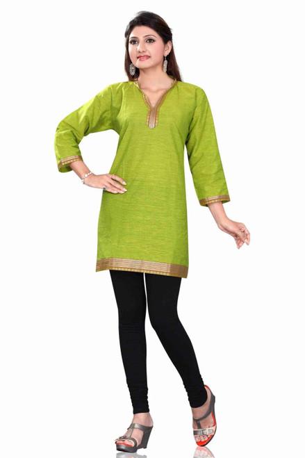 Green 3/4 sleeve Indian Cotton Kurti/Tunic with Golden neckline