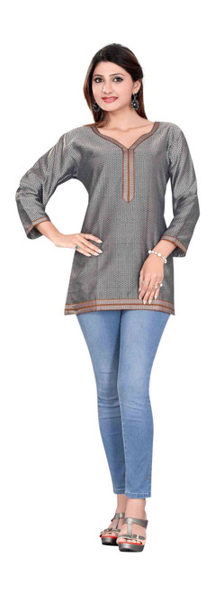 Designer Gray 3/4 sleeve Indian Cotton Kurti/Tunic with Golden neckline