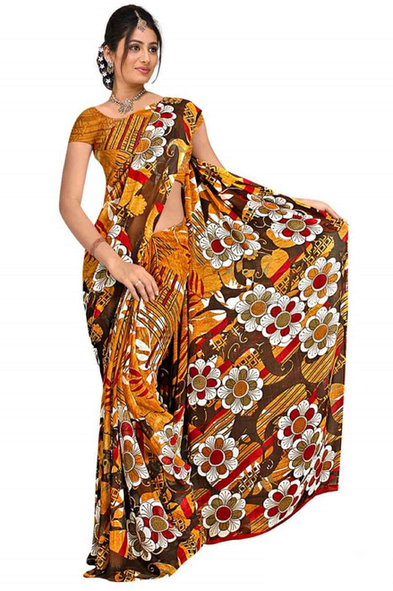 Chandani Georgette Printed Casual Saree Sari Bellydance fabric