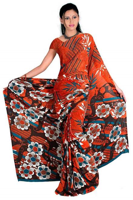 Chandi Georgette Printed Casual Saree Sari Bellydance fabric