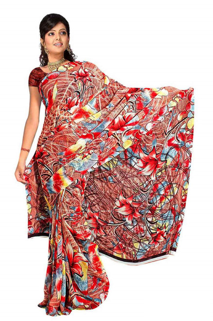 Chandrima Georgette Printed Casual Saree Sari Bellydance fabric