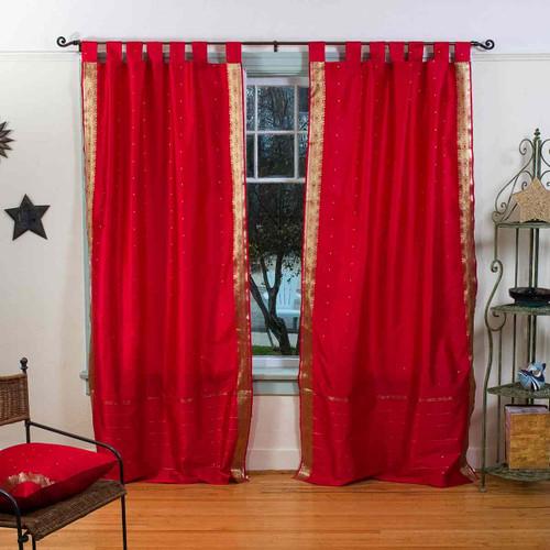 Fire Brick  Tab Top  Sheer Sari Curtain / Drape / Panel  - Pair