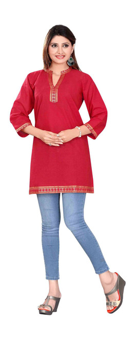 Red 3/4 sleeve Indian Cotton Kurti/Tunic with Golden neckline