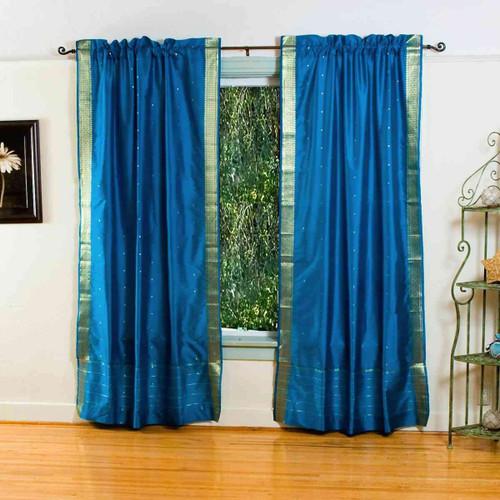 Turquoise Rod Pocket  Sheer Sari Curtain / Drape / Panel  - Pair