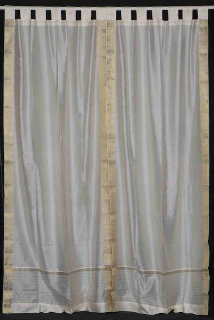 Cream  Tab Top  Sheer Sari Curtain / Drape / Panel  - Piece